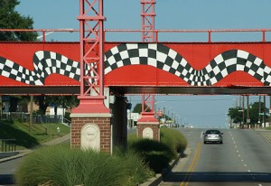 Racing themed overpass in Indianapolis near the Indianapolis Speedway. Photo © Craig Barhorst.